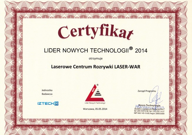 Lider Nowych Technologii 2014 dla LASER-WAR