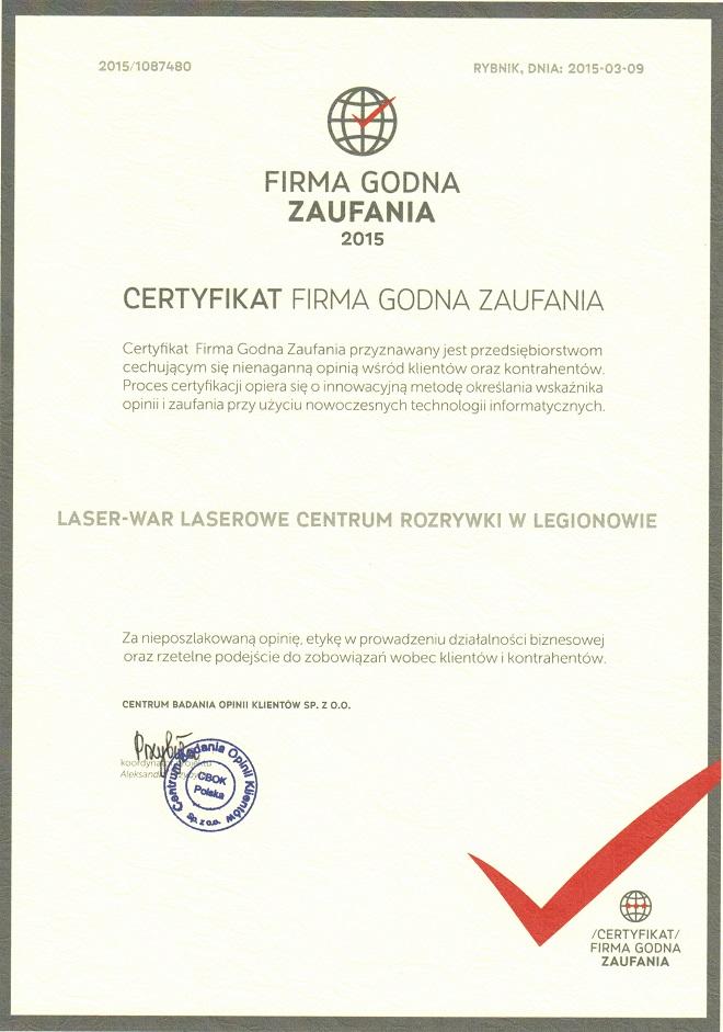 LASER-WAR Firma Godna Zaufania