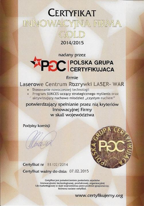 Innowacyjna Firma Gold dla LASER-WAR